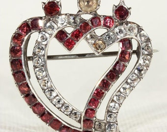 Antique Georgian Double Witches Heart Brooch Pin set with Garnet and Paste