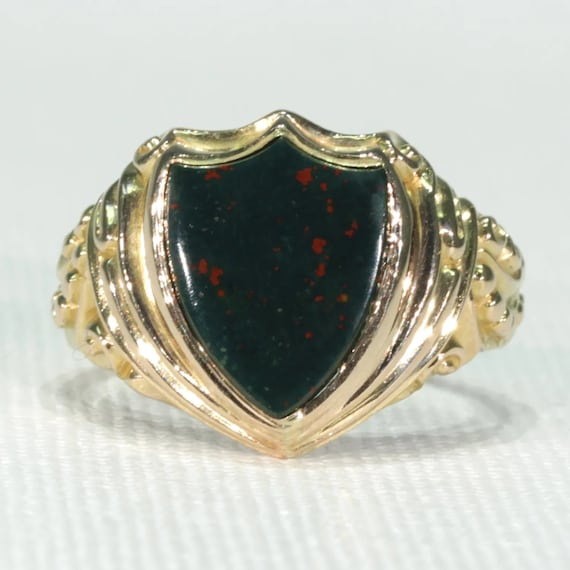 Victorian Shield Shaped Gold Bloodstone Ring Signe
