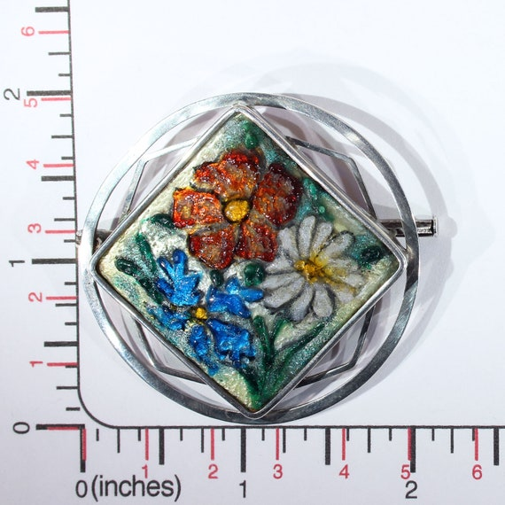 Antique French Enamel Limoges Silver Brooch Pin - image 5