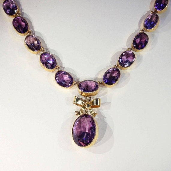 """Victorian Amethyst Riviere Necklace Bow Drop 16.5"""""""