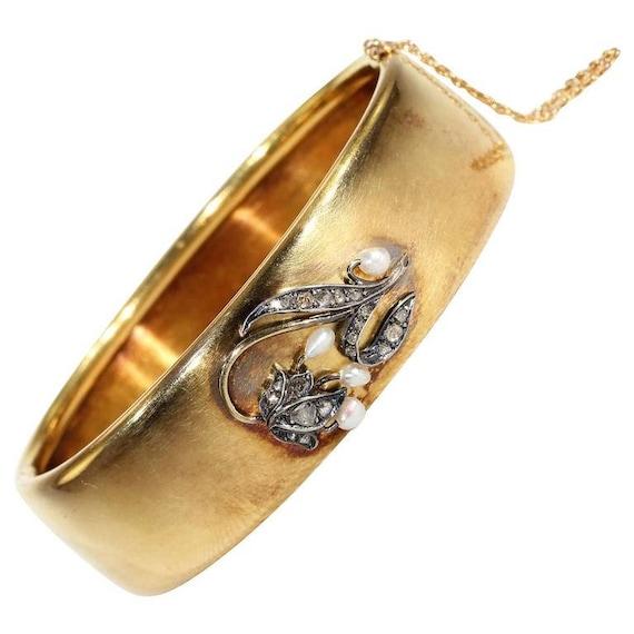 Victorian Diamond Pearl Bangle Bracelet Lily of th
