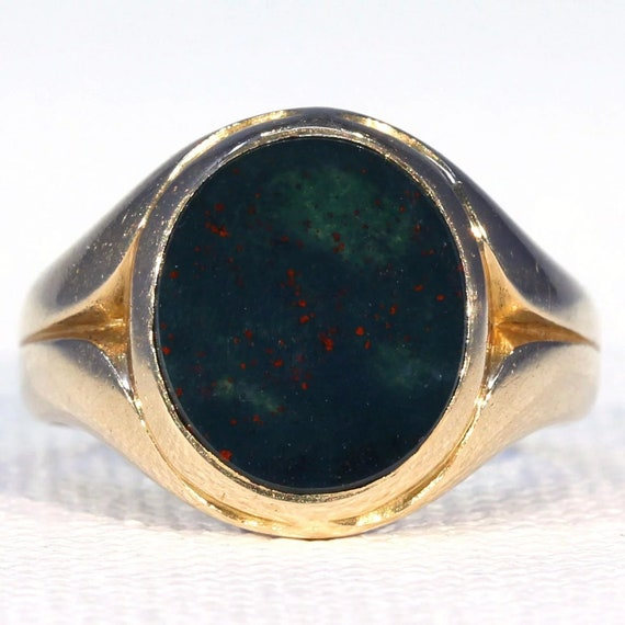 Victorian Bloodstone Gold Signet Ring Size 5.5