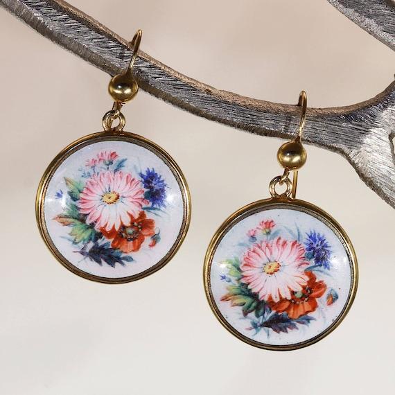 Antique Victorian Gold Enamel Flower Earrings
