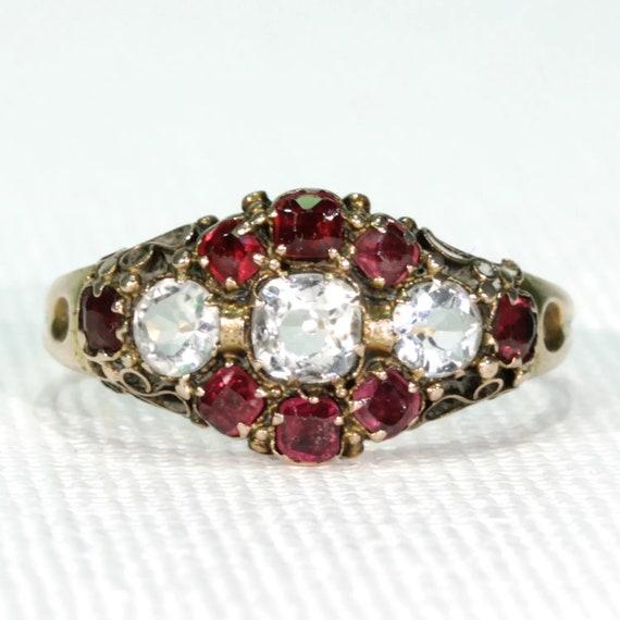 Victorian Aquamarine Garnet Ring Dated 1870 Size 8