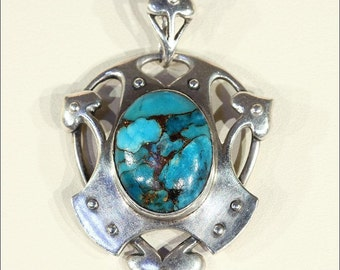 Antique Murrle, Bennett and Co. Silver Pendant with Cabochon Turquoise Gem, Arts and Crafts