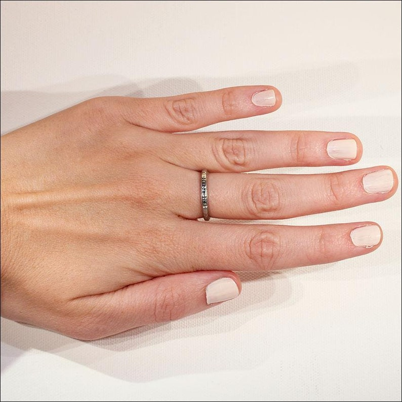 Size 6.75 US Vintage 18k White Gold Wedding Band Ring