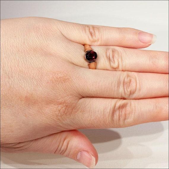 Vintage Art Deco Rose Gold Garnet Solitaire Ring … - image 4