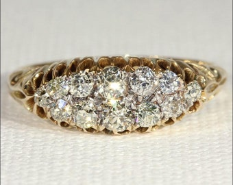 Antique Victorian Diamond Boat Ring in 18k Gold, .8ctw