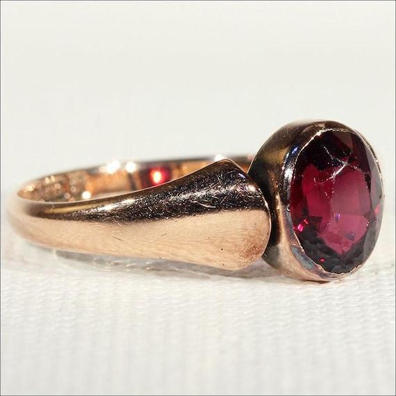 Vintage Art Deco Rose Gold Garnet Solitaire Ring … - image 2