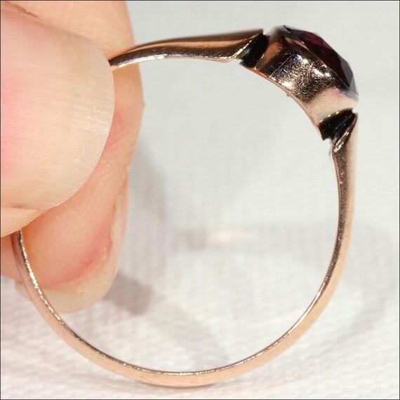 Vintage Art Deco Rose Gold Garnet Solitaire Ring … - image 5