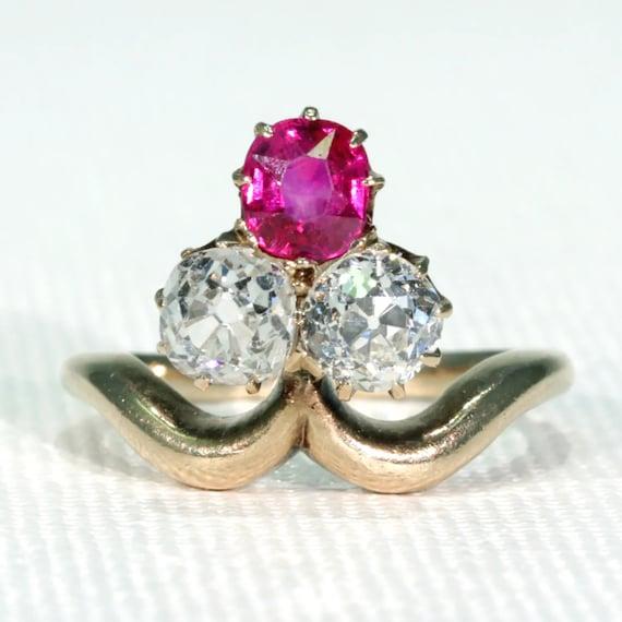 Antique Edwardian Trefoil Ruby Diamond Ring Size 5
