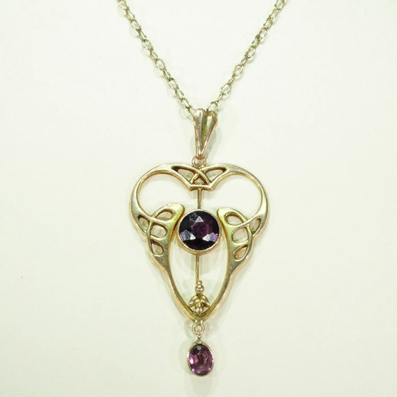 Antique Gold Art Nouveau Pearl Amethyst Pendant