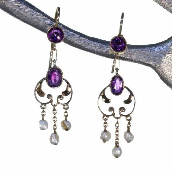 Antique Art Nouveau Amethyst Pearl Earrings Gold