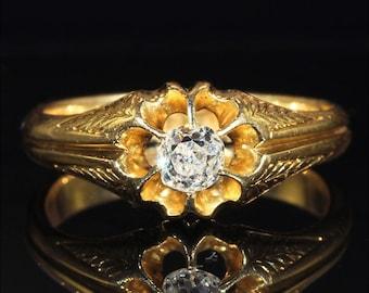 Antique Victorian Diamond Solitaire in 18k Gold, .3ct