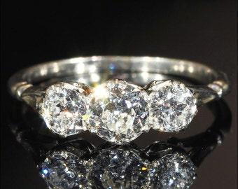 Antique 3 Stone Diamond Ring, Edwardian Platinum Engagement