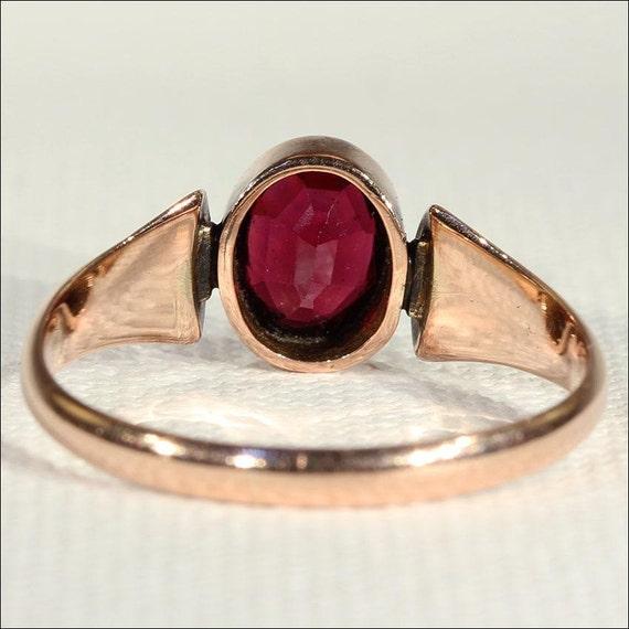 Vintage Art Deco Rose Gold Garnet Solitaire Ring … - image 3