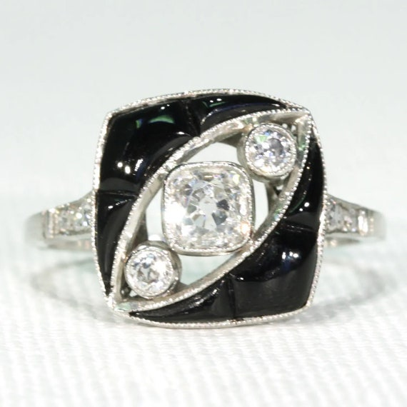 Art Deco Onyx Diamond Ring Platinum 1920s Size 8.5