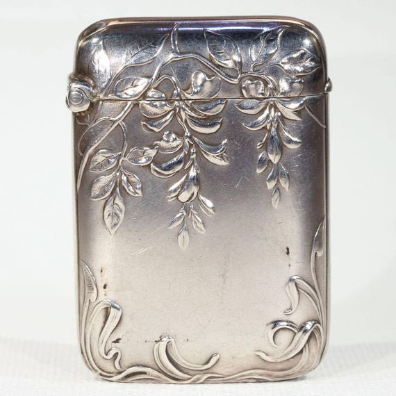 Antique Silver Art Nouveau Vesta Match Holder