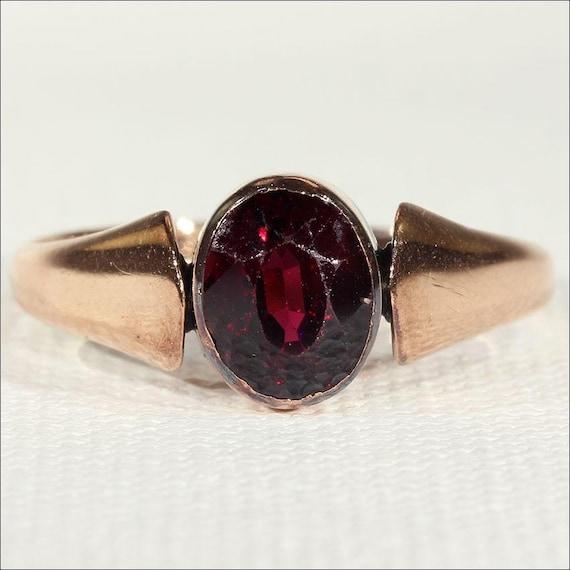 Vintage Art Deco Rose Gold Garnet Solitaire Ring … - image 1