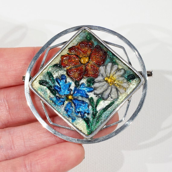 Antique French Enamel Limoges Silver Brooch Pin - image 4