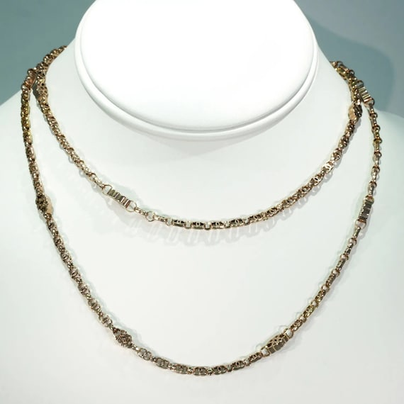 """Victorian Intricate Link Chain 9k Rose Gold 31.5"""""""