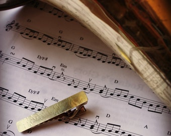 Recycled Trombone or Trumpet Brass Tie Clip