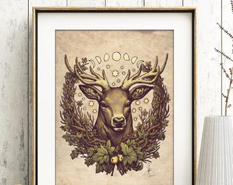 STAG PRINT 8x11'' DinA4 signed Art Nouveau CERNUNNOS Pagan deer H.Q 350g matte couche Wicca Botanical leaves autumn fall Medusa Dollmaker