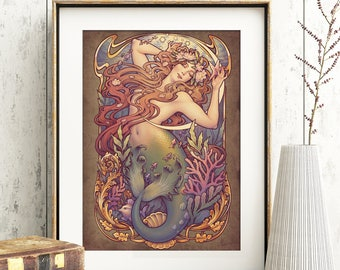 Andersen's LITTLE MERMAID Art PRINT  Nouveau 8x11'' DinA4 floral tale sea wall decor signed. H.Q 350g matte couche paper Medusa Dollmaker