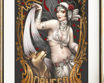 "BELLYDANCE Art nouveau PRINT Steampunk TRIBAL Belly dance  ""Dancing with wolves"" pin up DinA4 8x11'' print  hand signed H.Q Medusa Dollmaker"