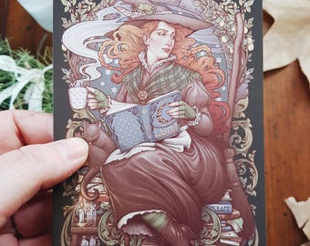 WITCH POSTCARD Mini PRINT 4x6'' in DinA6 signed Art nouveau Reader Folk Witch Book Lover Becquer Tale H.Q Medusa Dollmaker