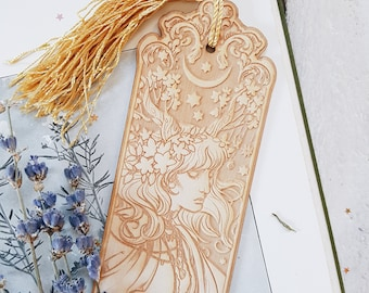 ART NOUVEAU BOHEMIA Bookmark, etched wood with tassel - 19cm approx - Laser cut wood book lovers -  design by Medusa Dollmaker