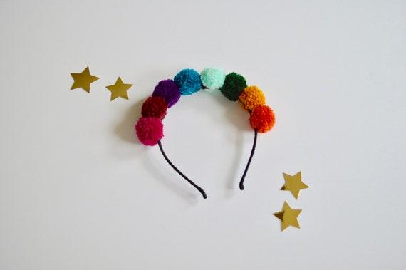 Rainbow Pompom Headband