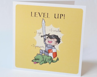 Geeky Birthday Card, Level Up design, sweet nerdy fantasy knight tabletop rpg birth day or anniversary card