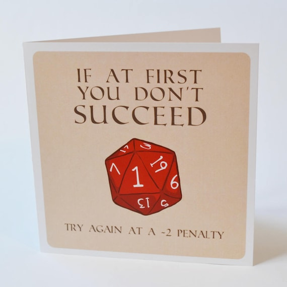Geeky Inspirational Card D20 Try Again Design Sweet Nerdy Etsy