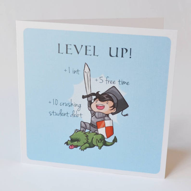 Geeky Graduation Card, Level Up Grad design, sweet nerdy fantasy knight  tabletop rpg graduation card