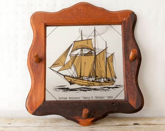 Vintage Wooden Mirror with Hooks and Mary B. Mitchell British Schooner Picture