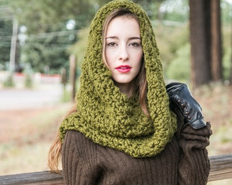 Chunky Infinity Scarf // Hooded Infinity Cowl // Chunky Knit Scarf // THE WEEKENDER INFINITY shown in Cilantro