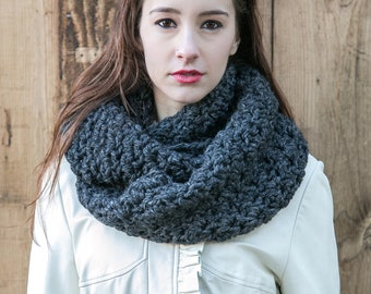 Grey Infinity Scarf // Wool Circle Scarf // Knit Infinity Scarf // THE WEEKENDER INFINITY shown in Charcoal