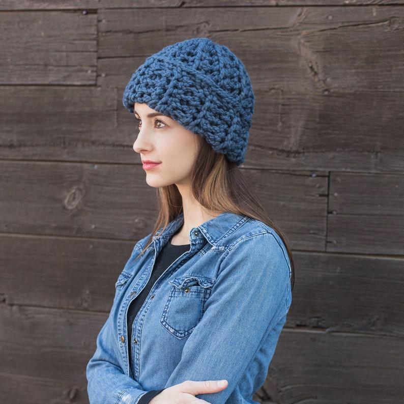30e9bce4aa8 Blue Knit Hat Cuffed Wool Hat Slouchy Beanie Unisex Hats   Etsy