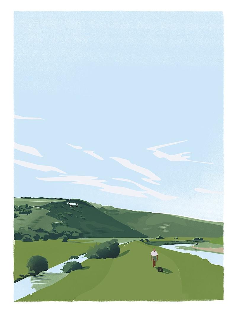 White Horse Alfriston Sussex retro print a3 image 0