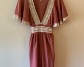 1970s Flutter Sleeve Dress