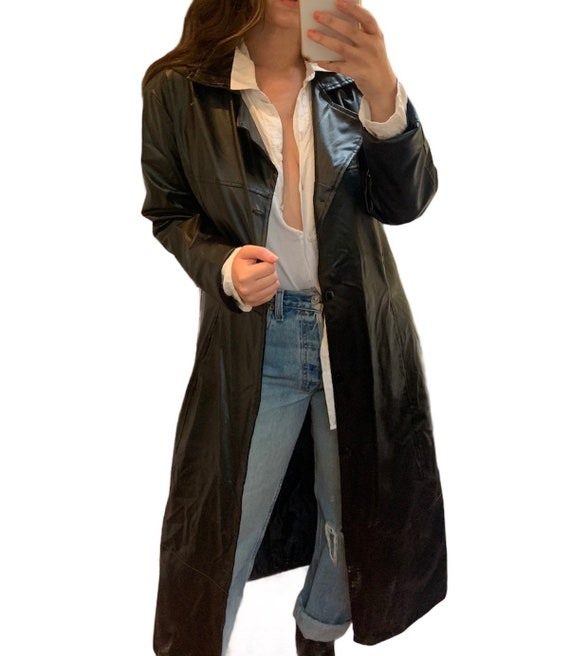 Unisex Faux Leather Trench Coat (soft)