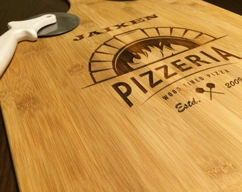 Personalized Bamboo Pizza Board by Peak Engraving