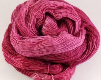 Hand Dyed Yarn - Unraveled Fingering - Cerise