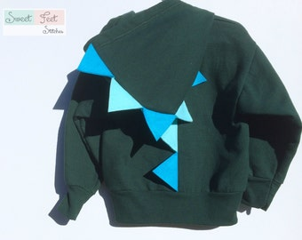 Boys XS (4-5) Green Dinosaur Hoodie with Blue Spikes