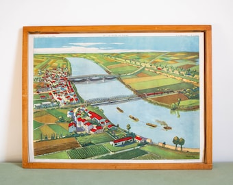 Vintage French school poster ROSSIGNOL. Double sided .1950's. Original. Valley plain - Confluence