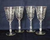 Four (4) Rock Sharpe quot Halifax quot Pattern Wine Glasses 7-7 8 quot Tall 1940s Cut Etched Stemware Libbey