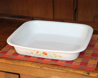 "Wildflower ~ Open Roaster ~ Corning Ware ~ A-21 ~ Lasagna Pan ~ 12-1/4"" x 10-1/4"" x 2-1/4"" ~ 1970s-80s ~ Bakeware"