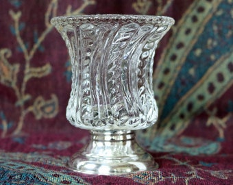 FREE U.S. SHIPPING ~ Clear Glass and Sterling Silver Toothpick Holder ~ Vintage