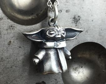 Grogu silver pendant